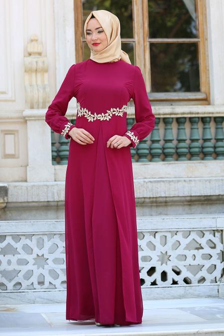 Neva Style - Beli Dantel Detaylı Fuşya Tesettürlü Abiye Elbise 4216F
