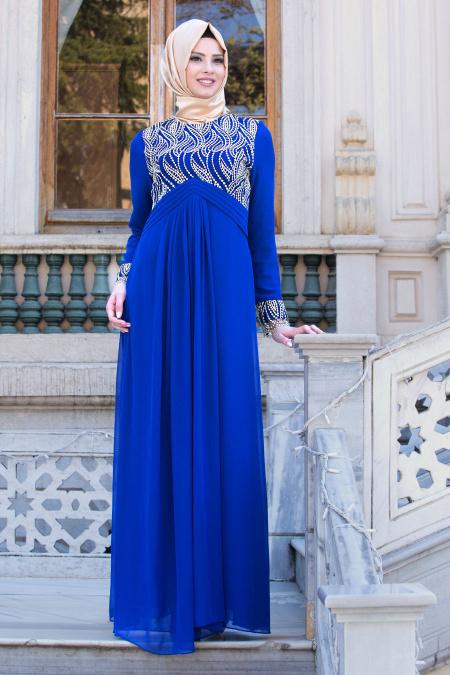 Neva Style - Beli Nervür Detaylı Saks Mavisi Tesettür Abiye Elbise 52566SX