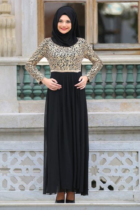 Neva Style - Beli Taşlı Siyah Tesettür Abiye Elbise 3094S
