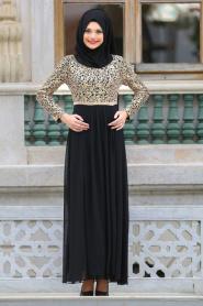Neva Style - Beli Taşlı Siyah Tesettür Abiye Elbise 3094S - Thumbnail