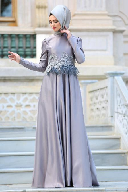 Neva Style - Beli Tüy Detaylı Gri Tesettür Abiye Elbise 3540GR