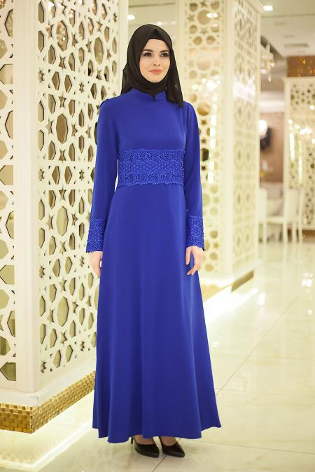 Neva Style - Beli ve Kolları Boncuk Detaylı Saks Mavisi Tesettür Abiye Elbise 5351SX