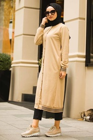 Neva Style - Biscuit Color Hijab Coat 60250BS - Thumbnail