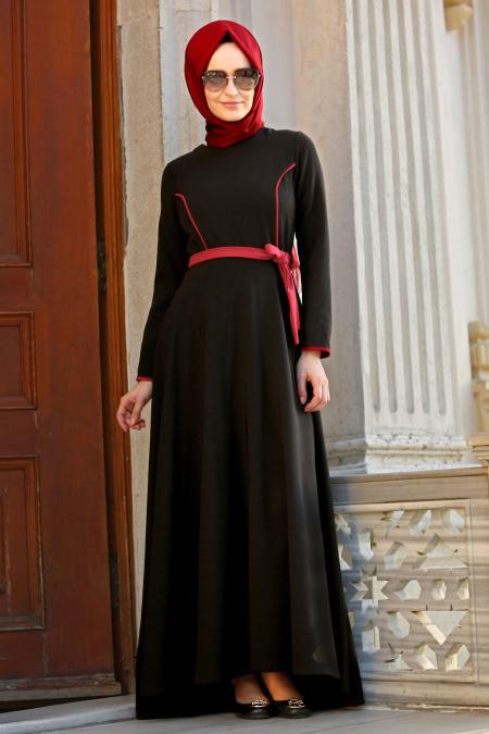 Neva Style - Biyeli Siyah Tesettür Elbise 42020S