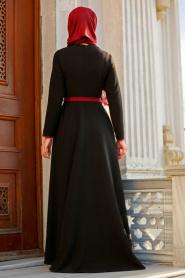 Neva Style - Biyeli Siyah Tesettür Elbise 42020S - Thumbnail