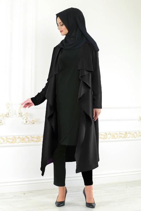 Neva Style - Black Hijab Cardigan 52740S