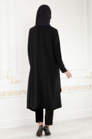 Neva Style - Black Hijab Cardigan 52740S - Thumbnail