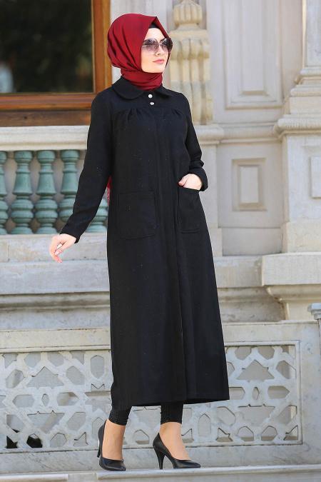 Neva Style - Black Hijab Coat 21671S