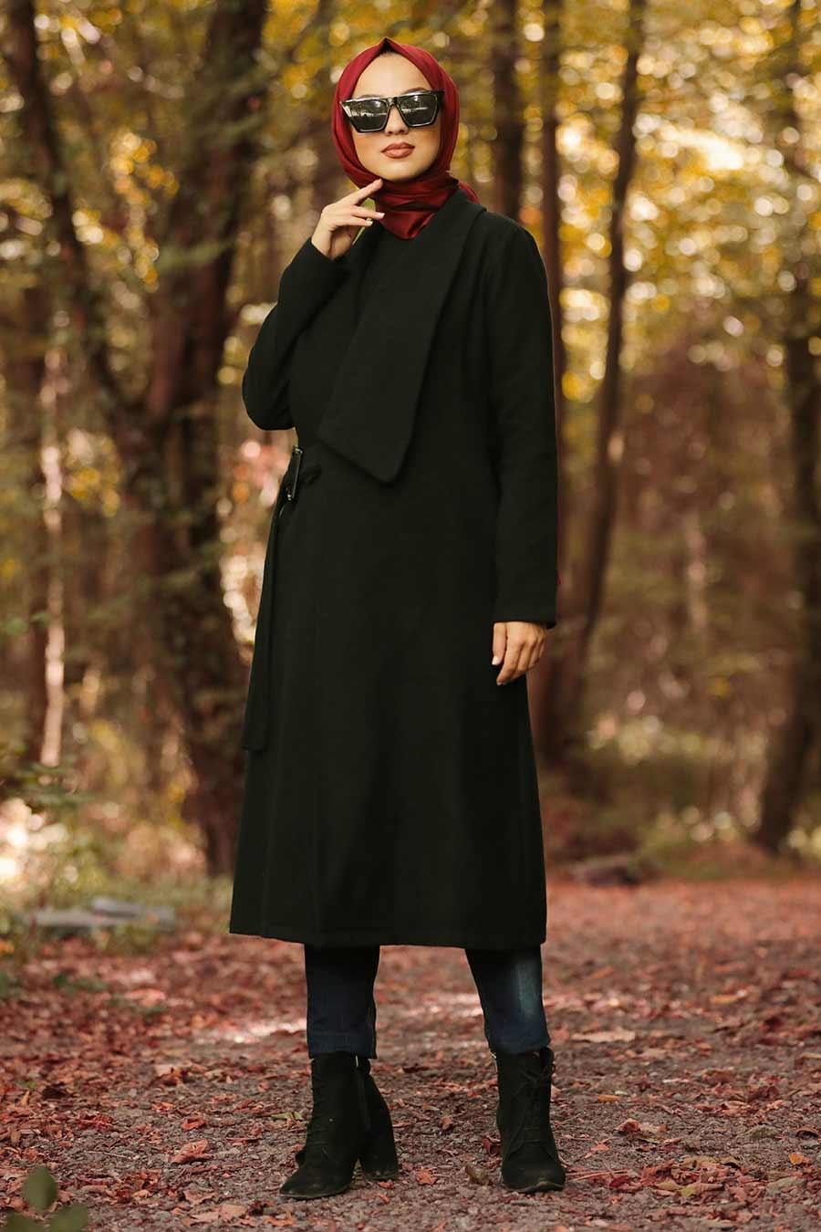 Neva Style - Black Hijab Coat 5048S