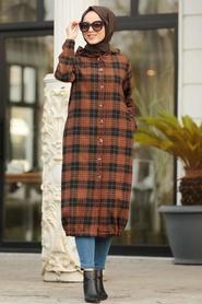 Neva Style - Black Hijab Coat 5507S - Thumbnail
