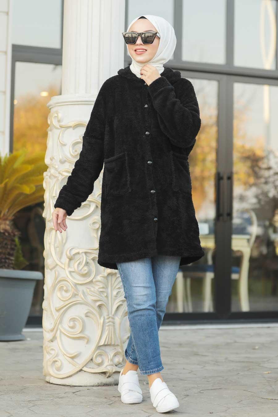 Neva Style - Black Hijab Coat 60701S