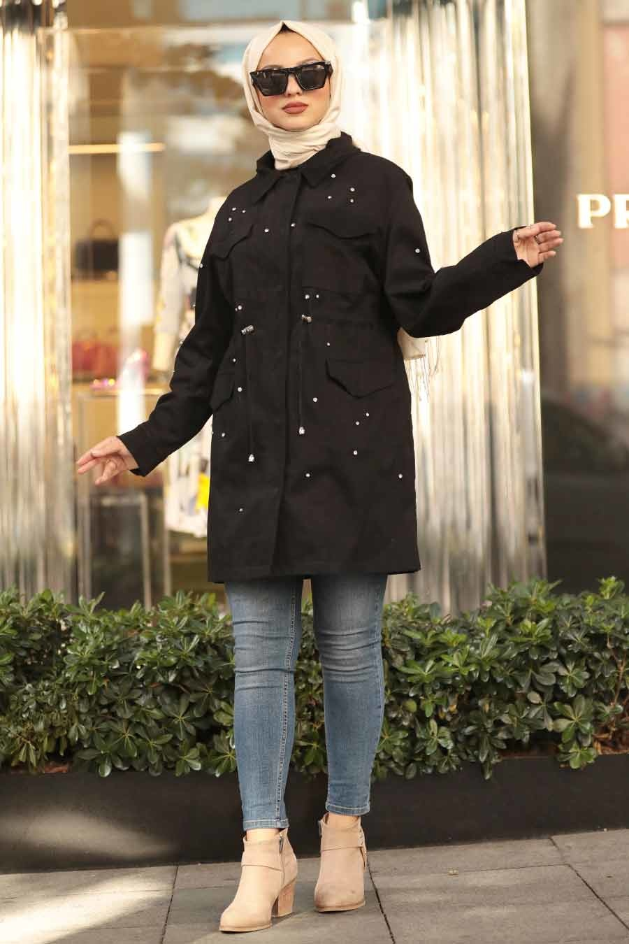 Neva Style - Black Hijab Coat 9025S