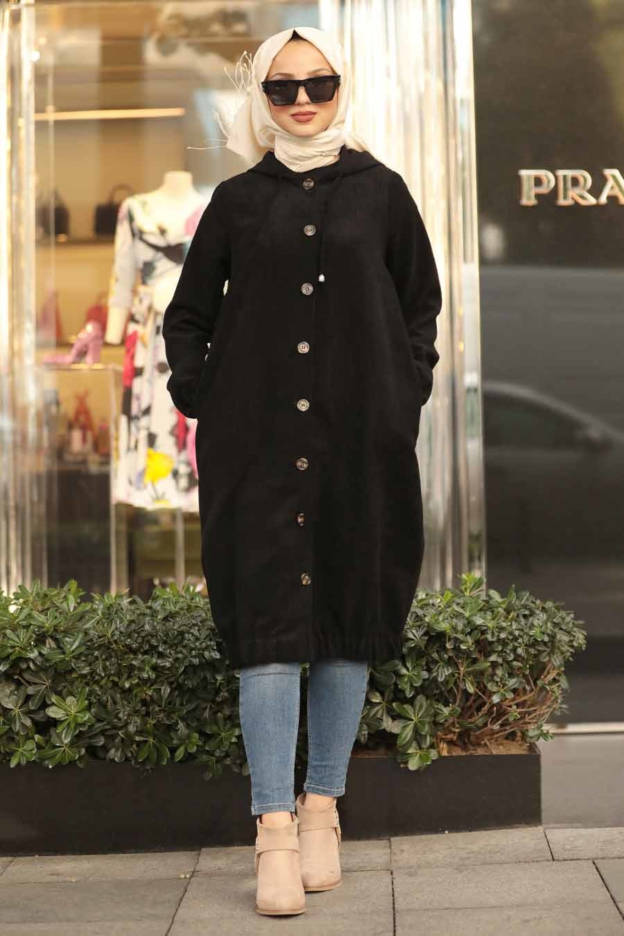 Neva Style - Black Hijab Coat 9042S