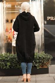 Neva Style - Black Hijab Coat 9042S - Thumbnail