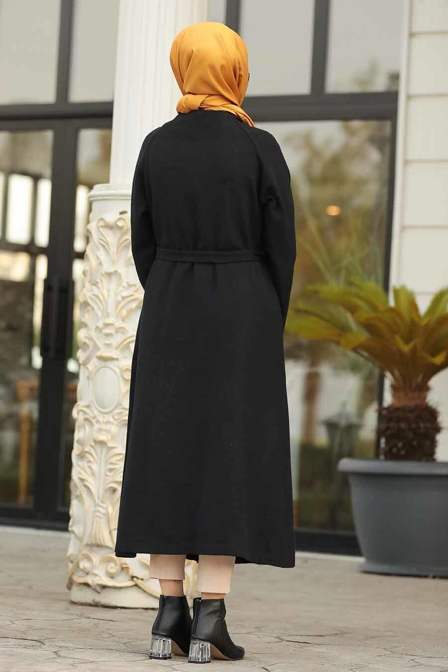 Neva Style - Düğmeli Siyah Tesettür Kaşe Kap 5505S
