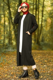 Neva Style - Black Hijab Knitwear Cardigan 15691S - Thumbnail