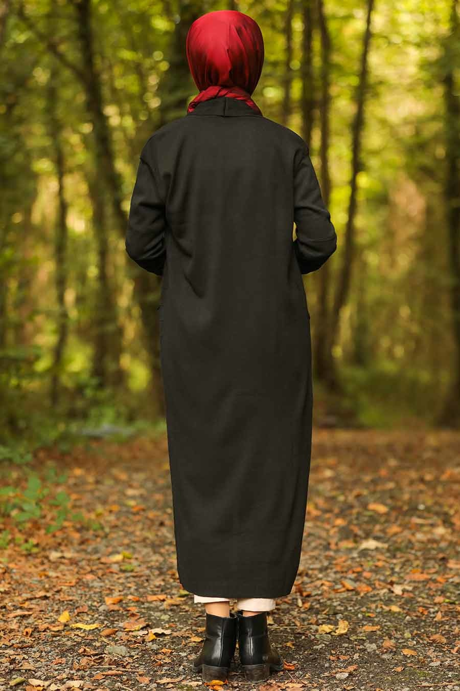 Neva Style - Black Hijab Knitwear Cardigan 15691S