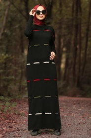 Neva Style - Black Hijab Knitwear Dress 1052S - Thumbnail