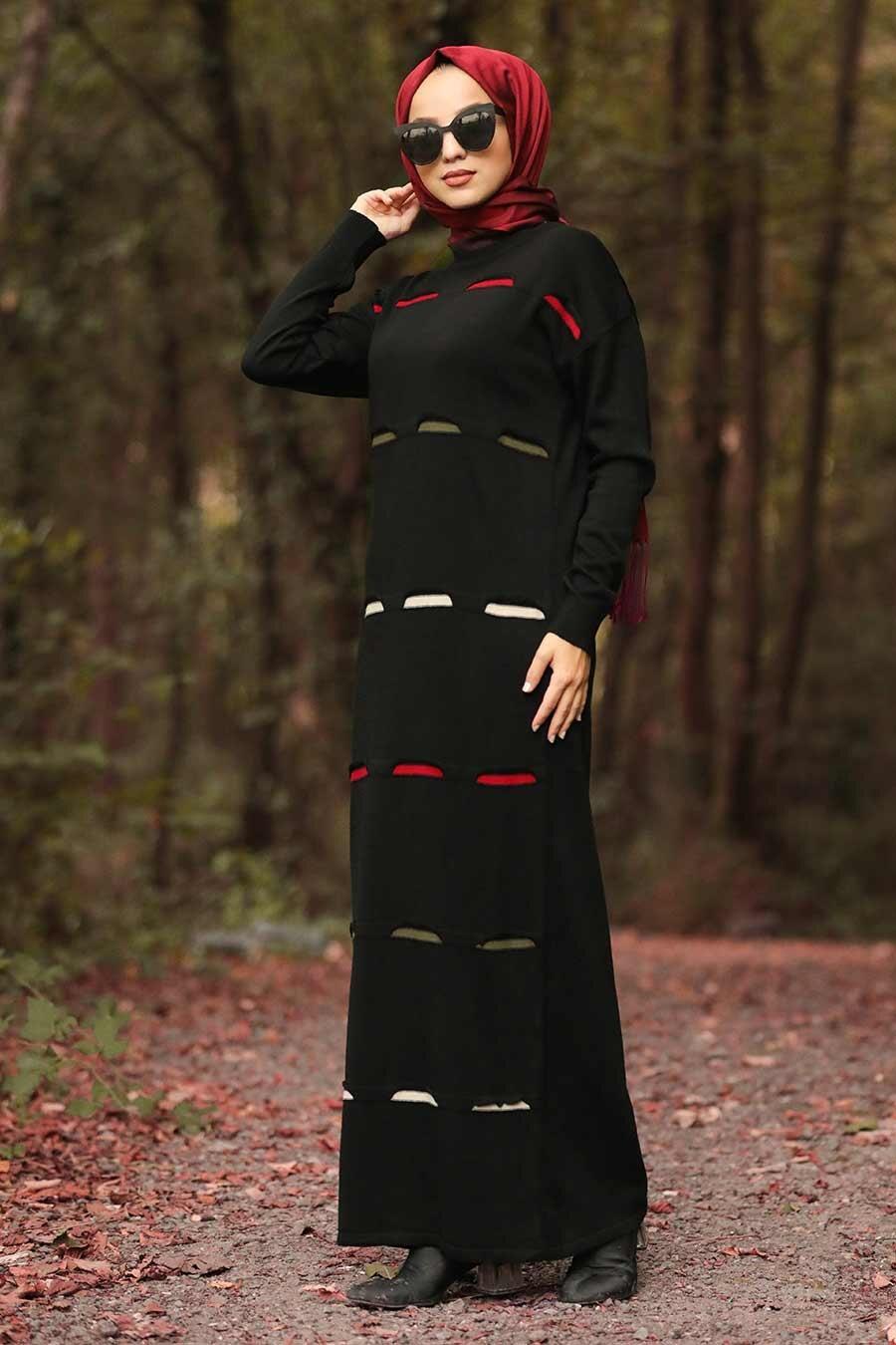 Neva Style - Black Hijab Knitwear Dress 1052S