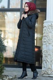 Neva Style - Black İnflatable Coat 9050S - Thumbnail