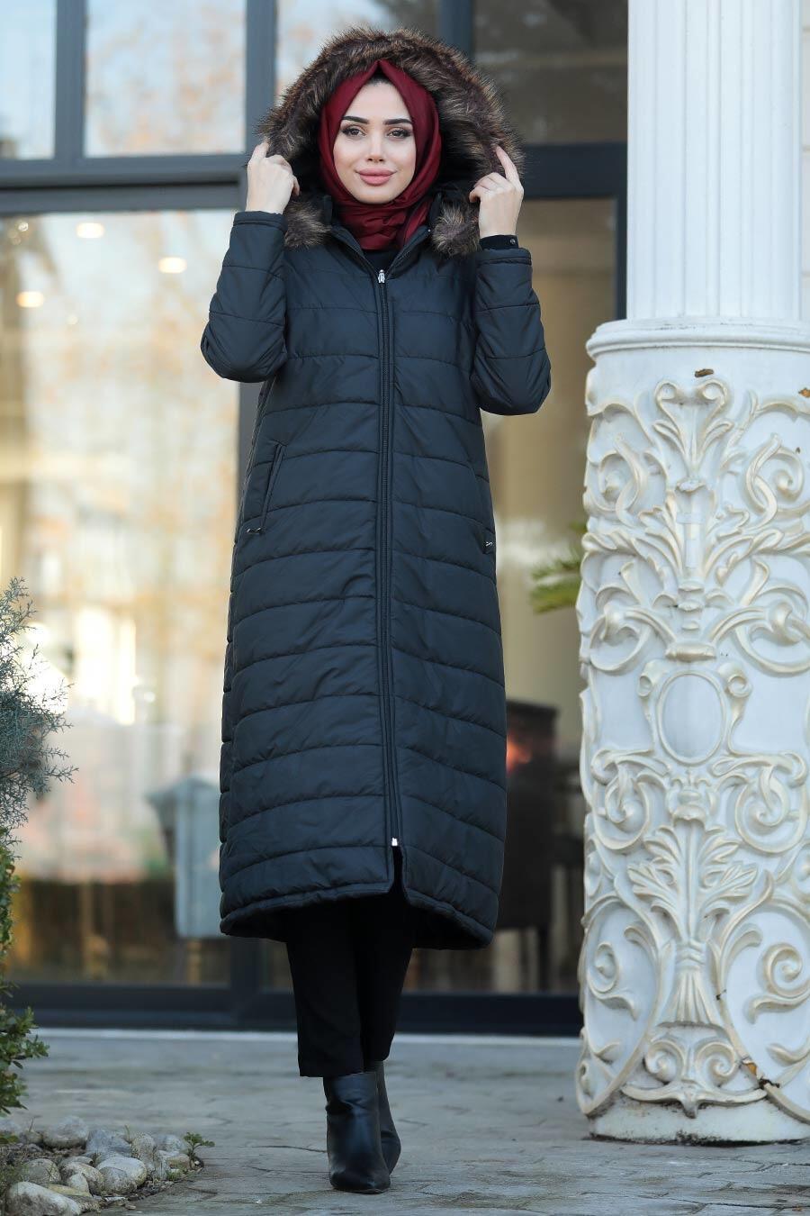 Neva Style - Black İnflatable Coat 9050S