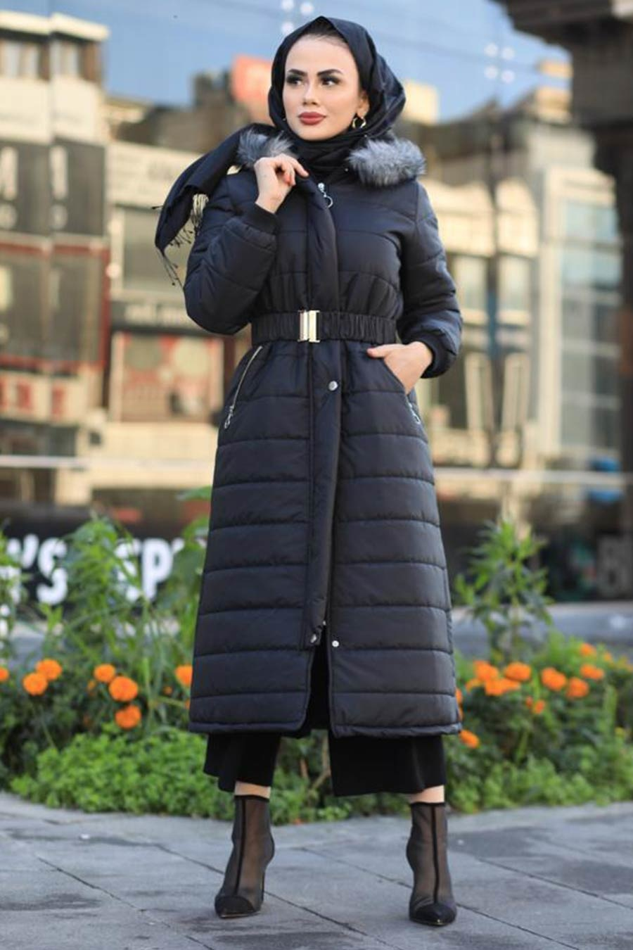 Neva Style - Black İnflatable Coat 9058S