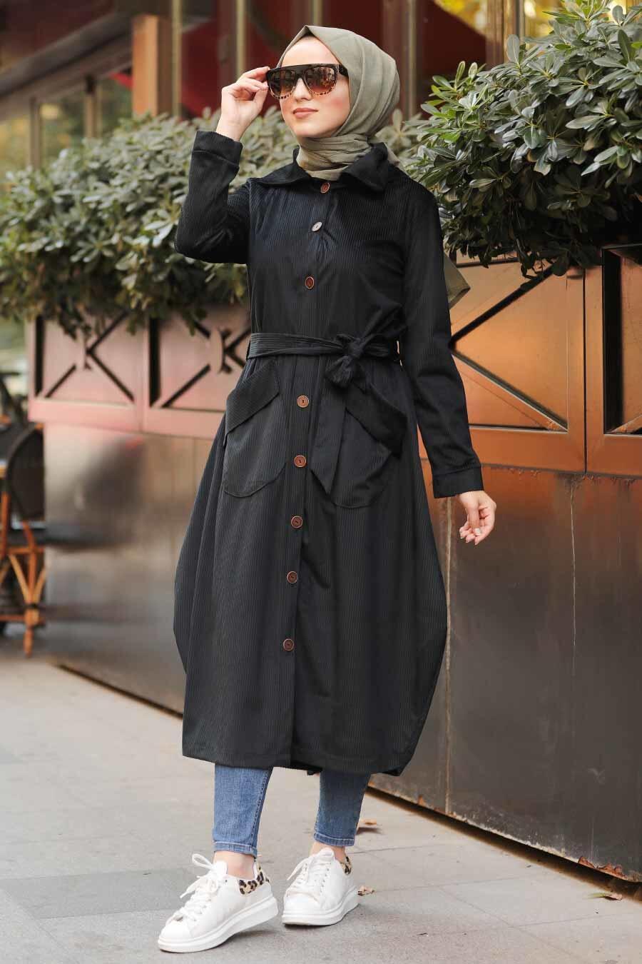 Neva Style - Black Velvet Coat 8845S