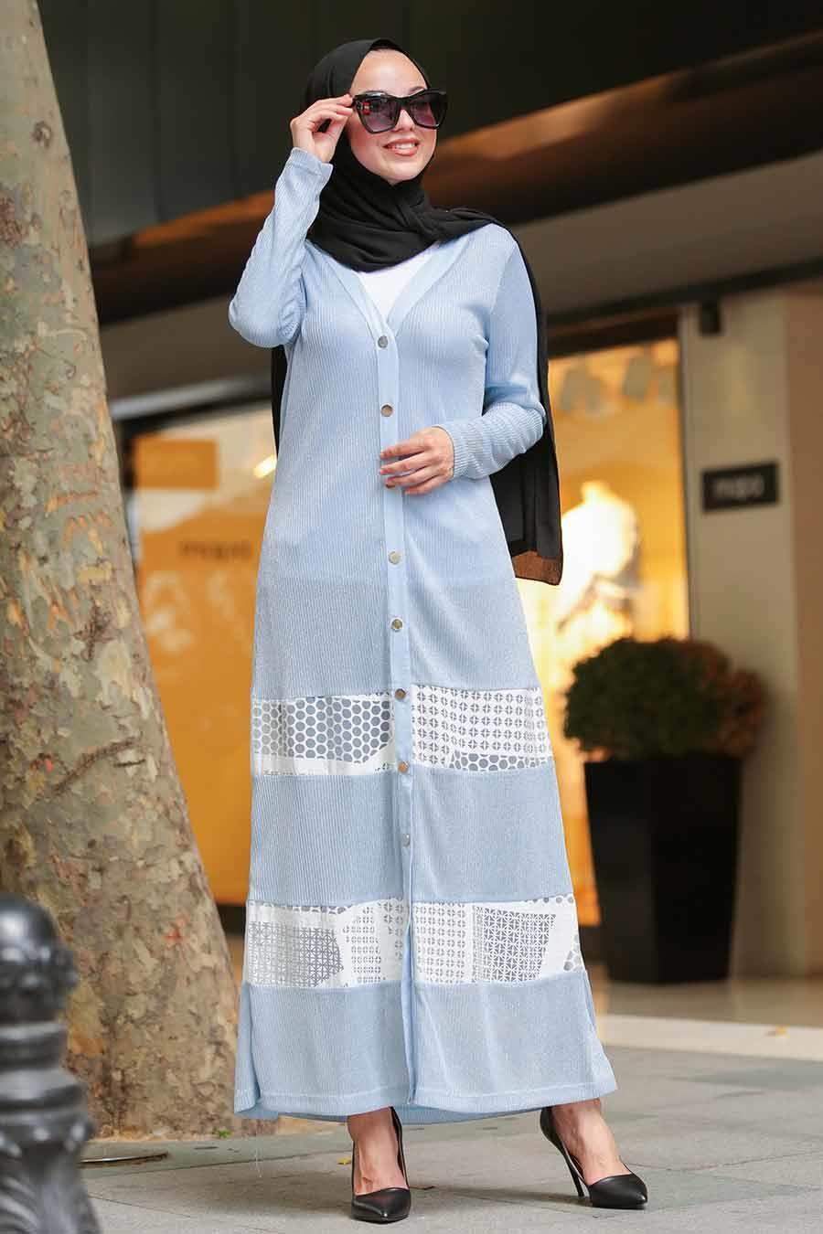 Neva Style - Blue Hijab Cardigan 402M