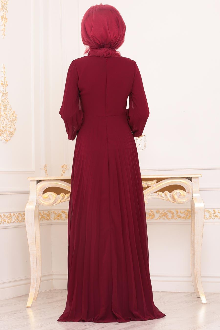 Neva Style - Boncuk Detaylı Bordo Tesettür Abiye Elbise 91130BR