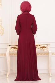 Neva Style - Boncuk Detaylı Bordo Tesettür Abiye Elbise 91130BR - Thumbnail