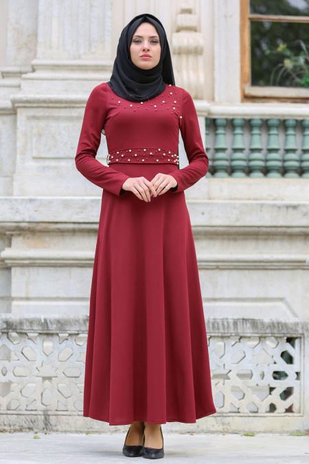 Neva Style - Boncuk Detaylı Bordo Tesettür Elbise 100130BR