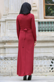 Neva Style - Boncuk Detaylı Bordo Tesettür Elbise 100130BR - Thumbnail