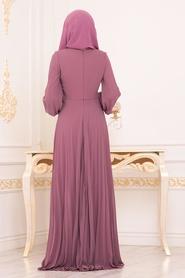 Neva Style - Boncuk Detaylı Gül Kurusu Tesettür Abiye Elbise 91130GK - Thumbnail