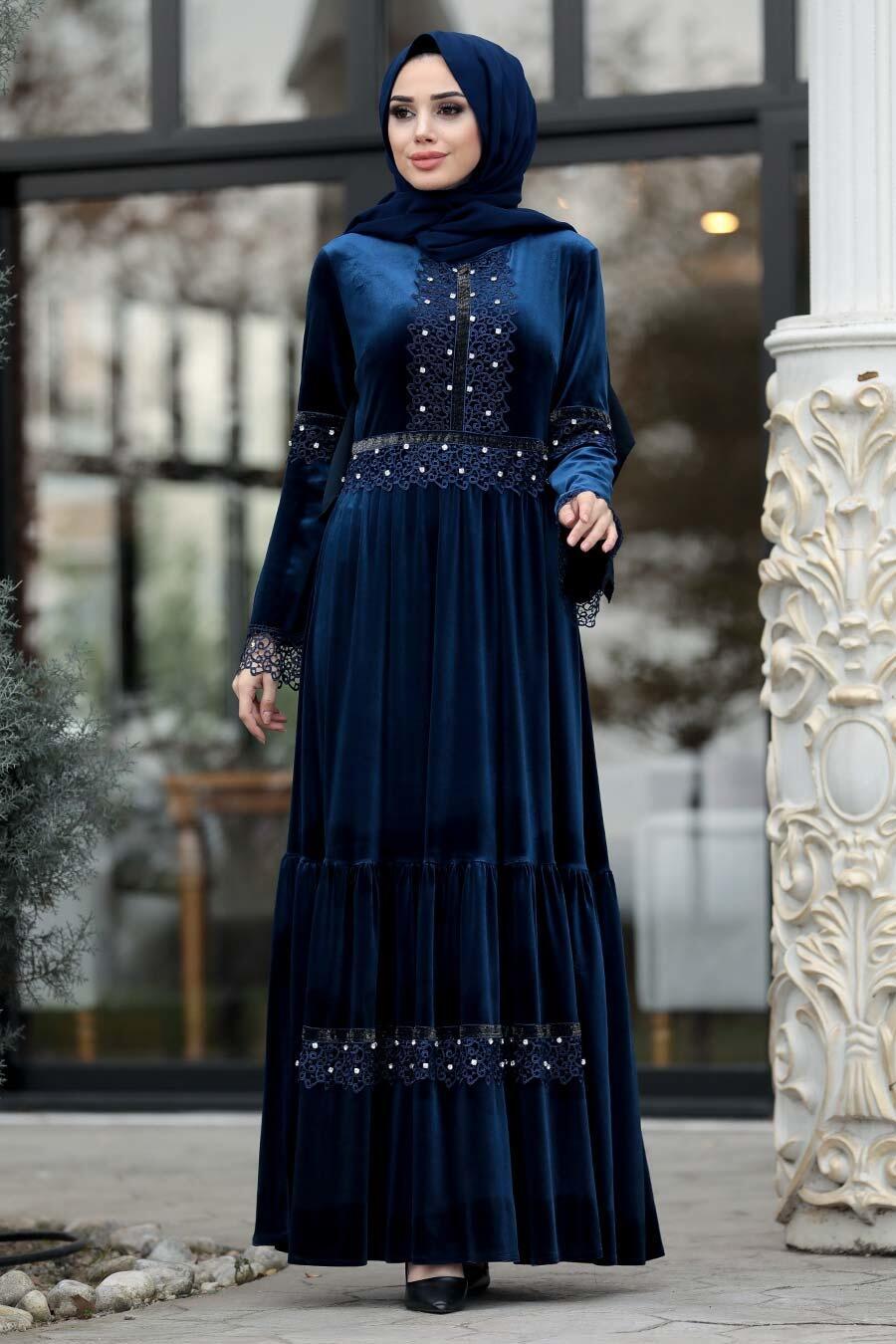 Neva Style - Boncuk Detaylı Lacivert Tesettür Kadife Elbise 1470L