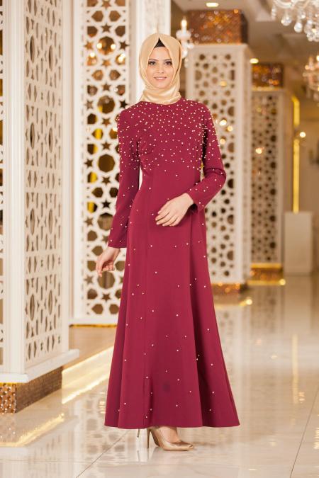 Neva Style - Boncuk Detaylı Mürdüm Tesettür Elbise 4731MU
