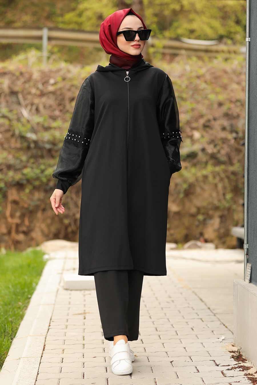 Neva Style - Boncuk Detaylı Siyah Tesettür Kap 61430S