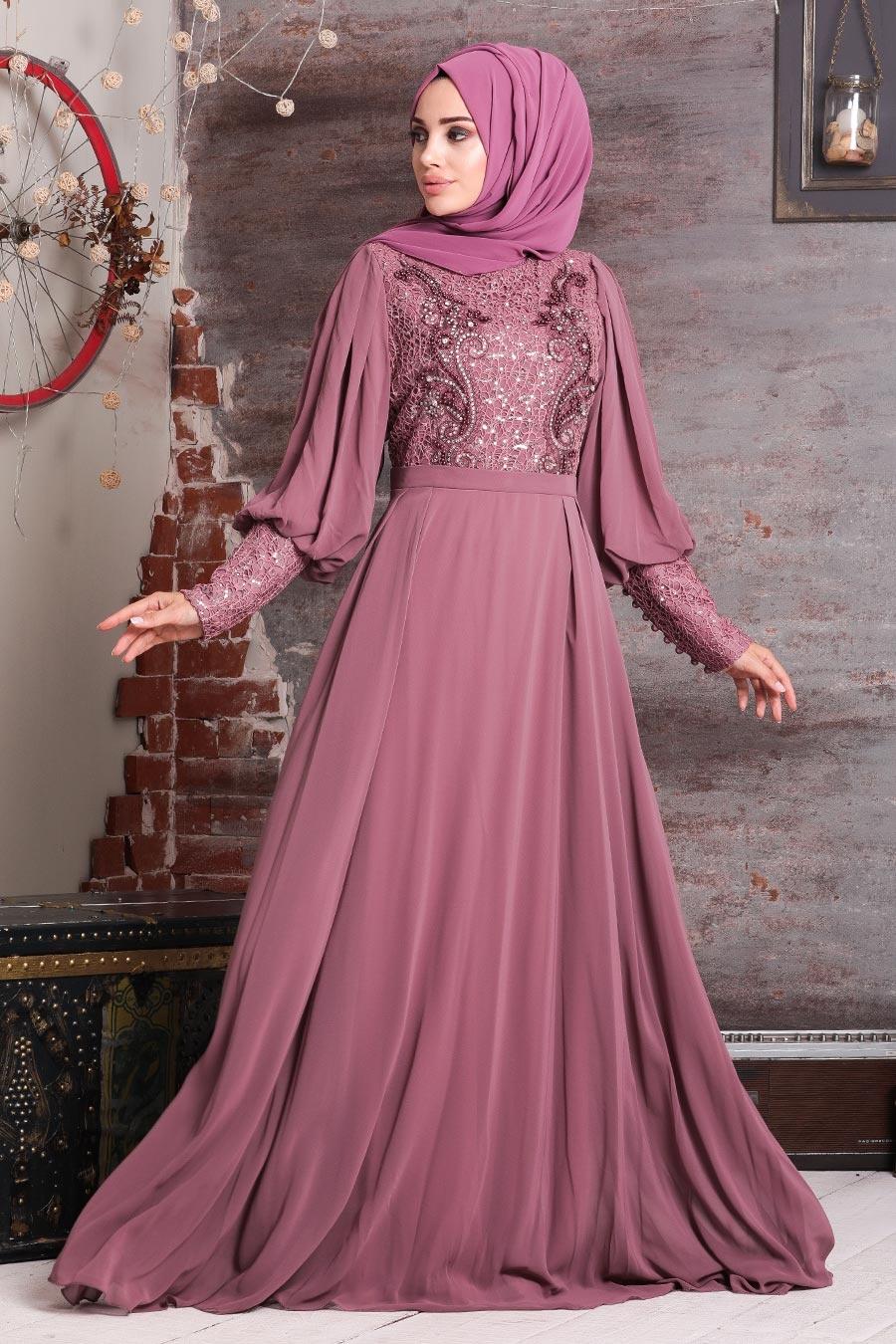 Neva Style - Boncuk İşlemeli Gül Kurusu Tesettür Abiye Elbise 25771GK