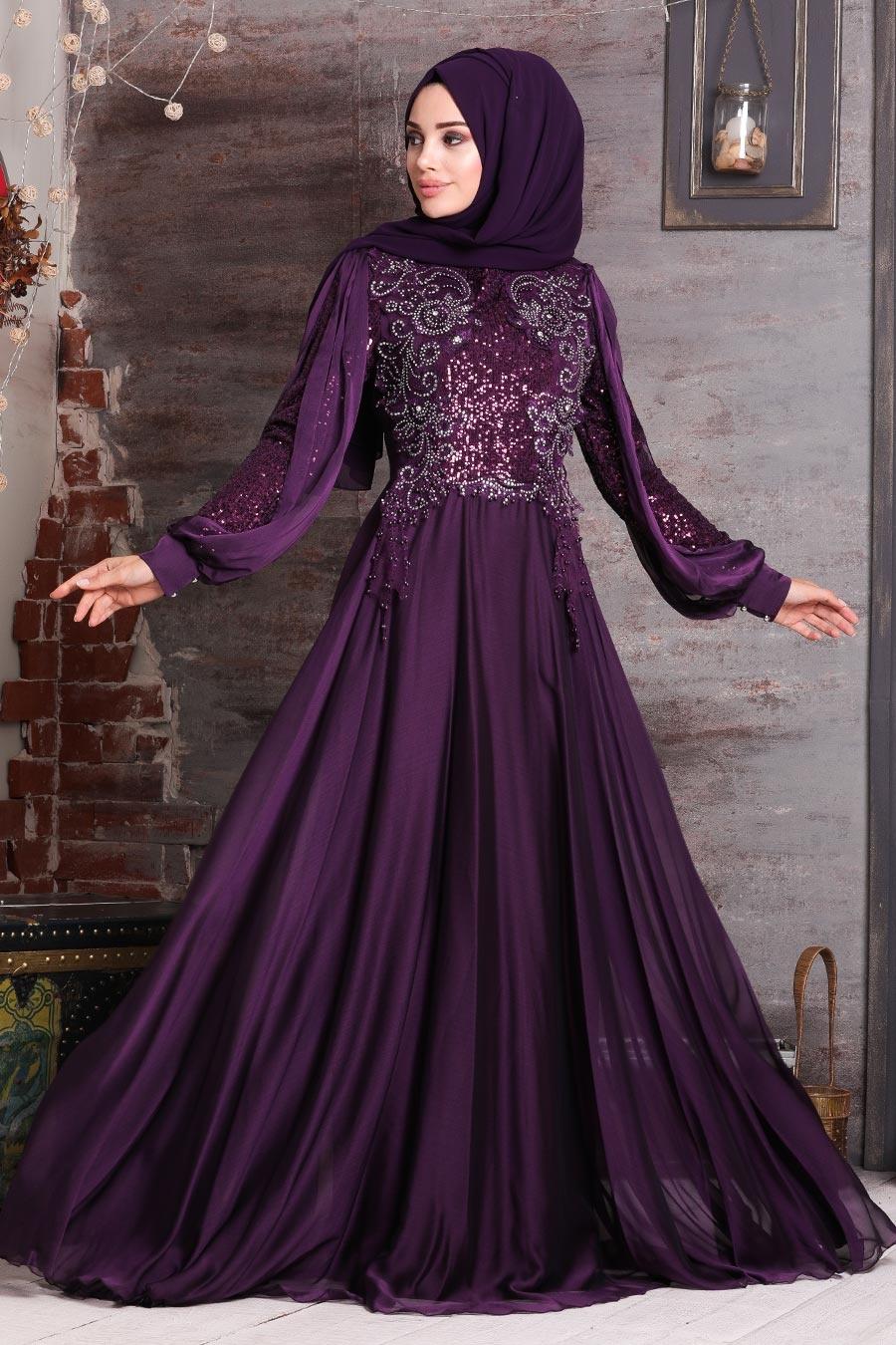 Neva Style - Boncuk İşlemeli Mor Tesettür Abiye Elbise 25775MOR