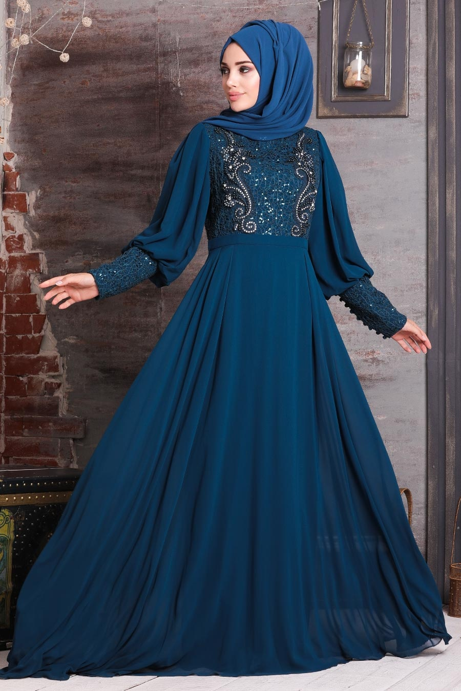 Neva Style - Boncuk İşlemeli Petrol Mavisi Tesettür Abiye Elbise 25771PM
