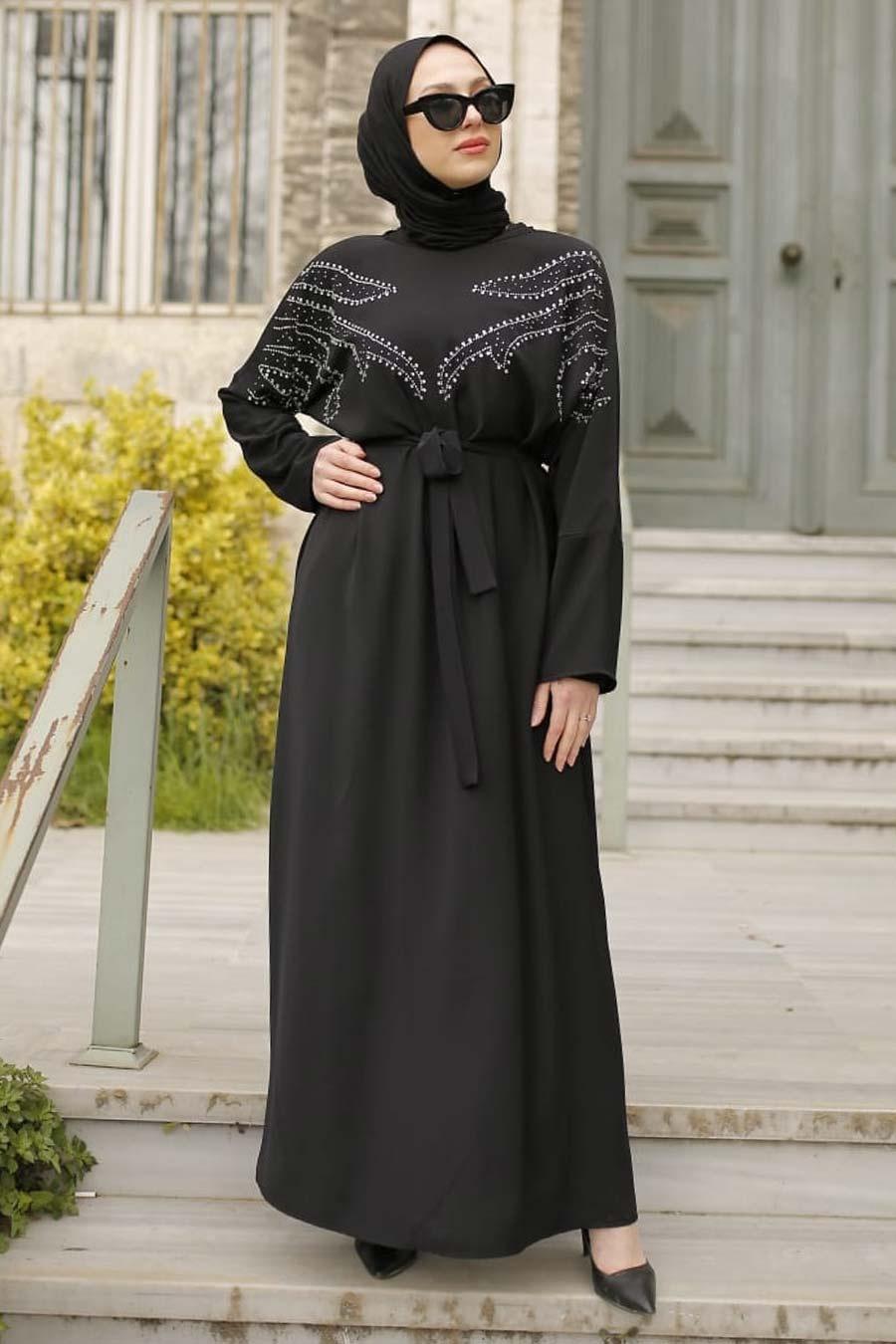 Neva Style - Boncuk İşlemeli Siyah Tesettür Elbise 32290S