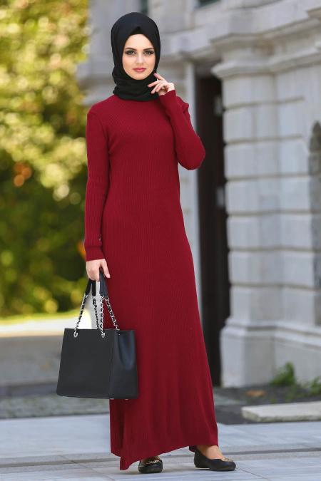 Neva Style - Bordo Triko Tesettür Elbise 15120BR