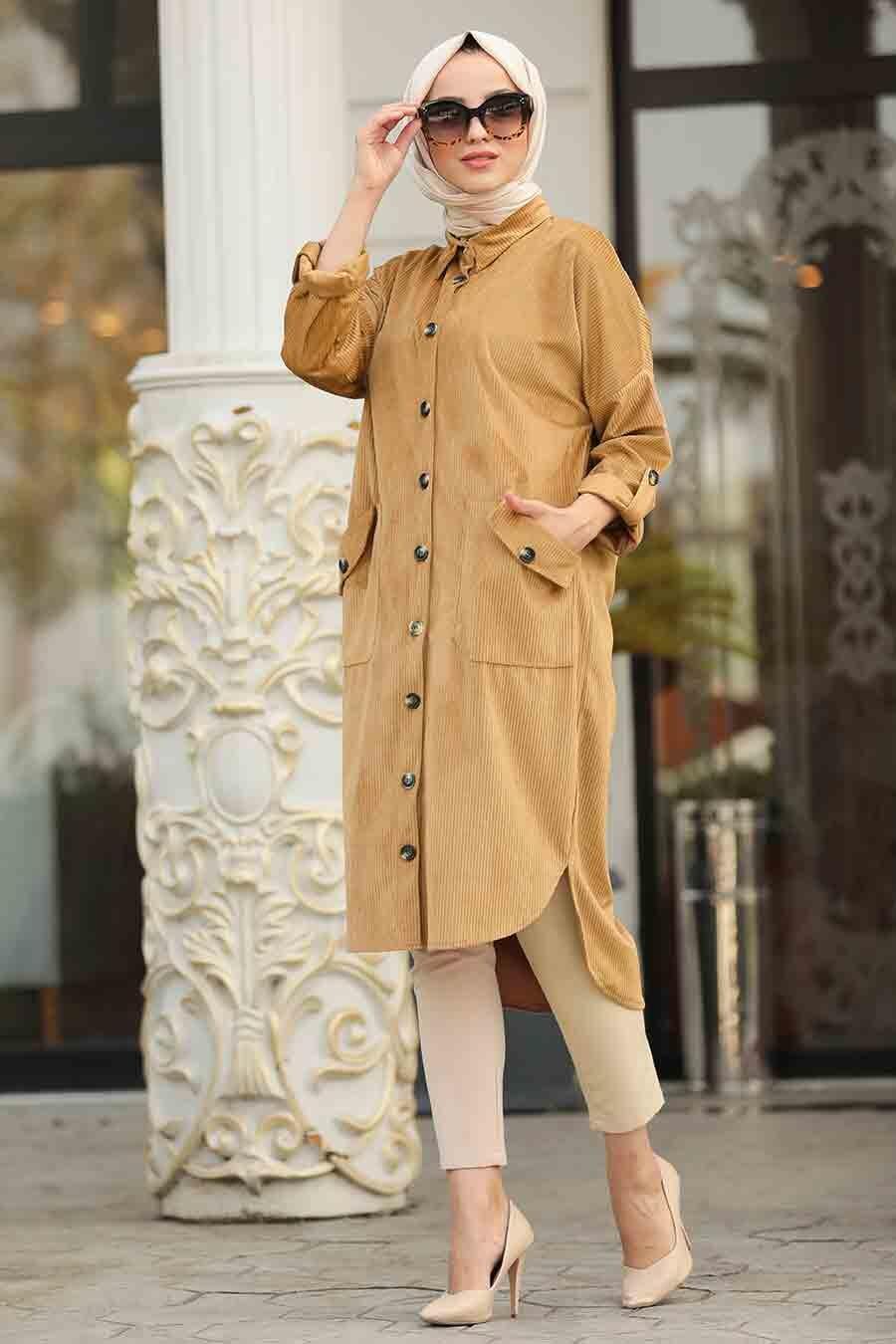 Neva Style - Camel Color Velvet Coat 60350C