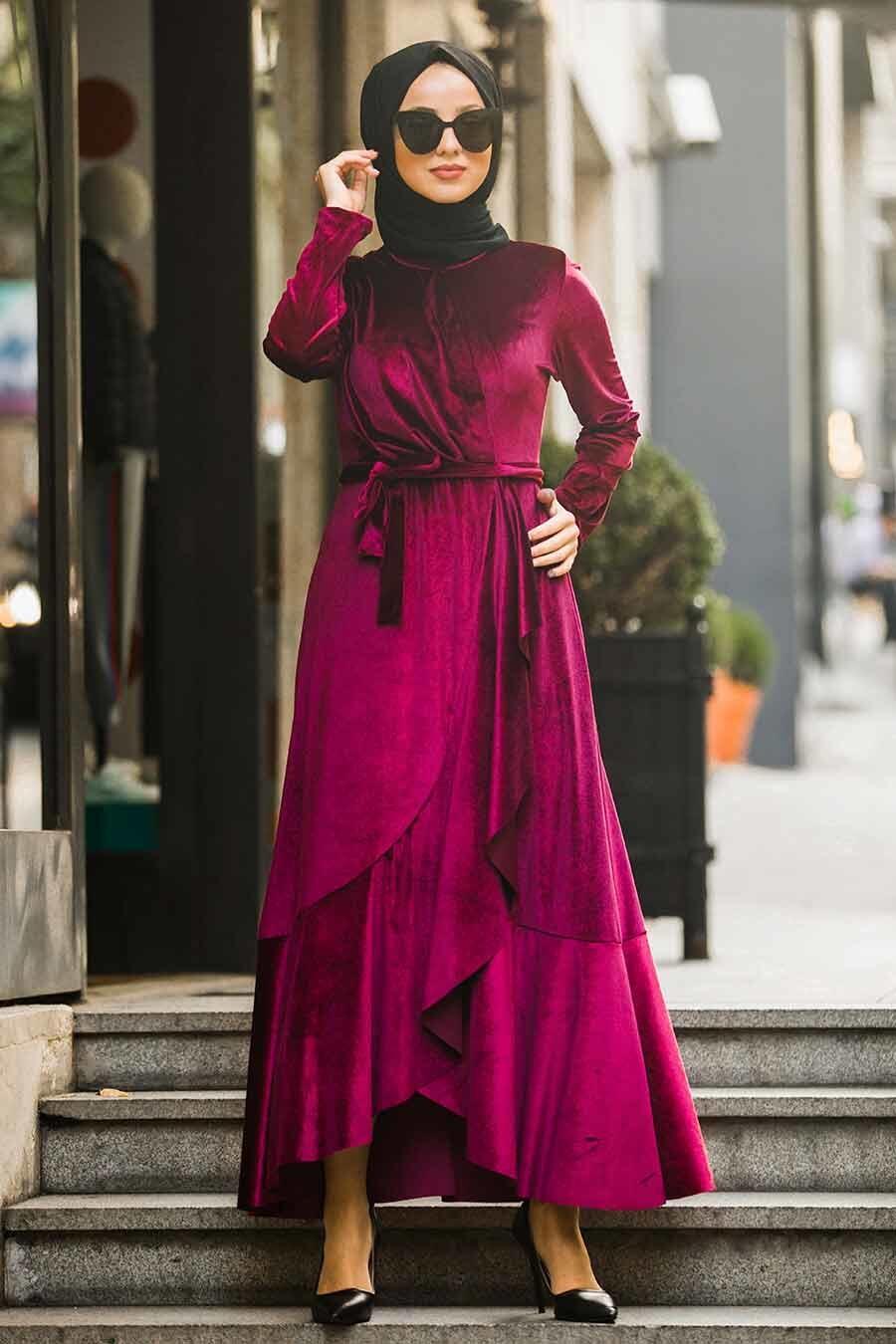 Neva Style - Çapraz Model Fuşya Tesettür Kadife Elbise 50521F