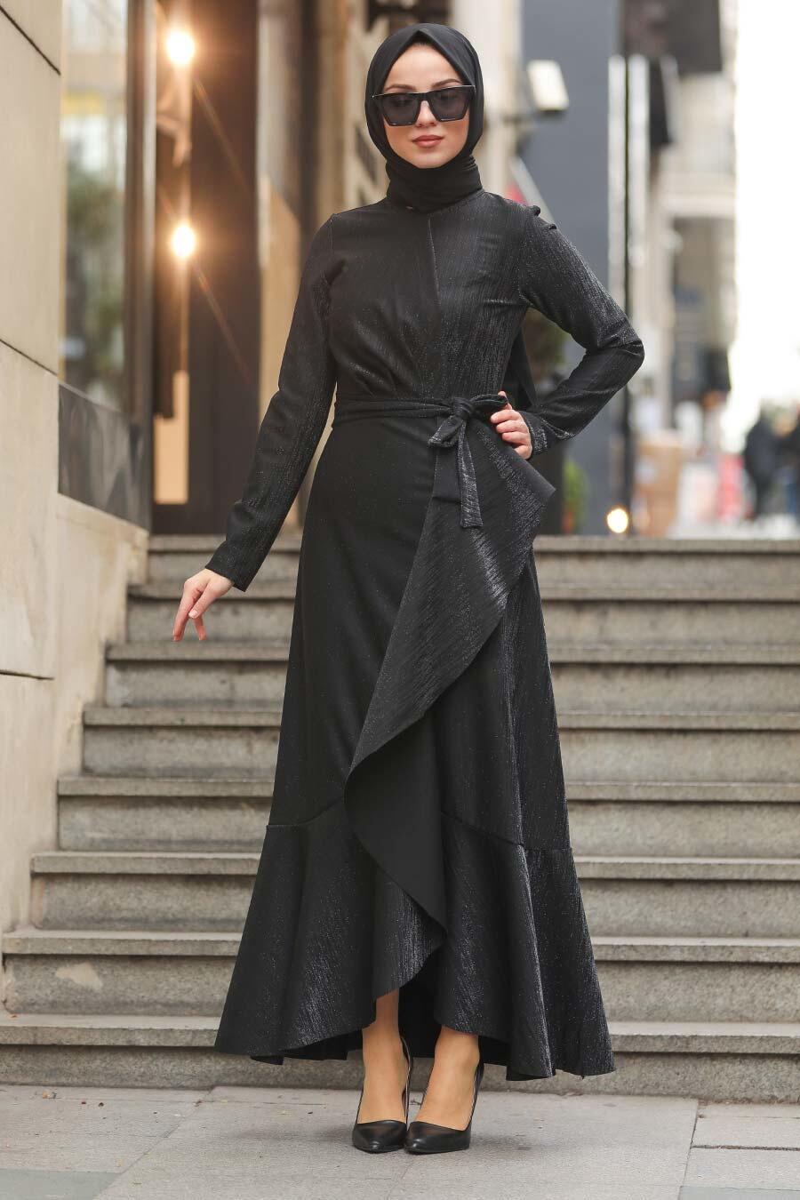 Neva Style - Çapraz Model Siyah Tesettür Elbise 51110S