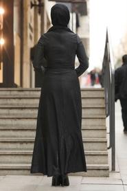 Neva Style - Çapraz Model Siyah Tesettür Elbise 51110S - Thumbnail