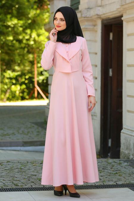 Neva Style - Ceket Görünümlü Somon Tesettür Elbise 41550SMN