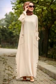 Neva Style - Cepli Bej Tesettür Elbise 30112BEJ - Thumbnail