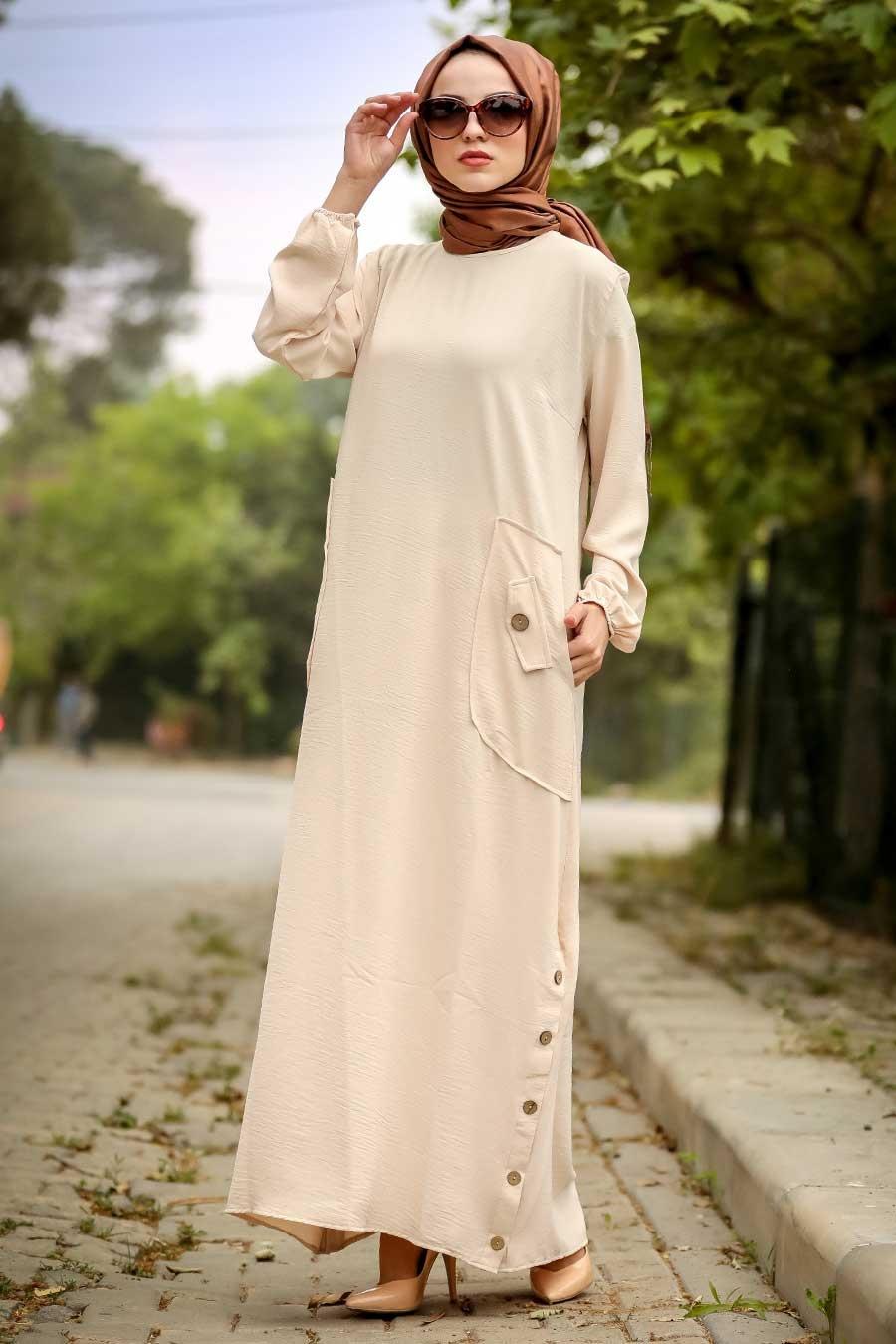 Neva Style - Cepli Bej Tesettür Elbise 30112BEJ