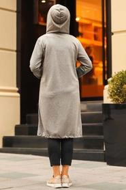 Neva Style - Cepli Fermuarlı Füme Tesettür Kap 6029FU - Thumbnail