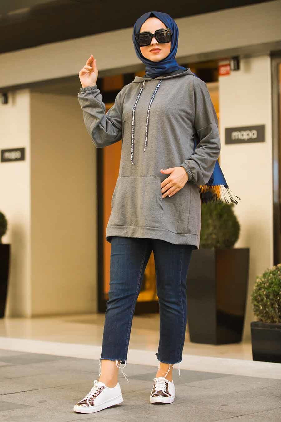 Neva Style - Cepli Füme Tesettür Sweatshirt & Tunik 41251FU